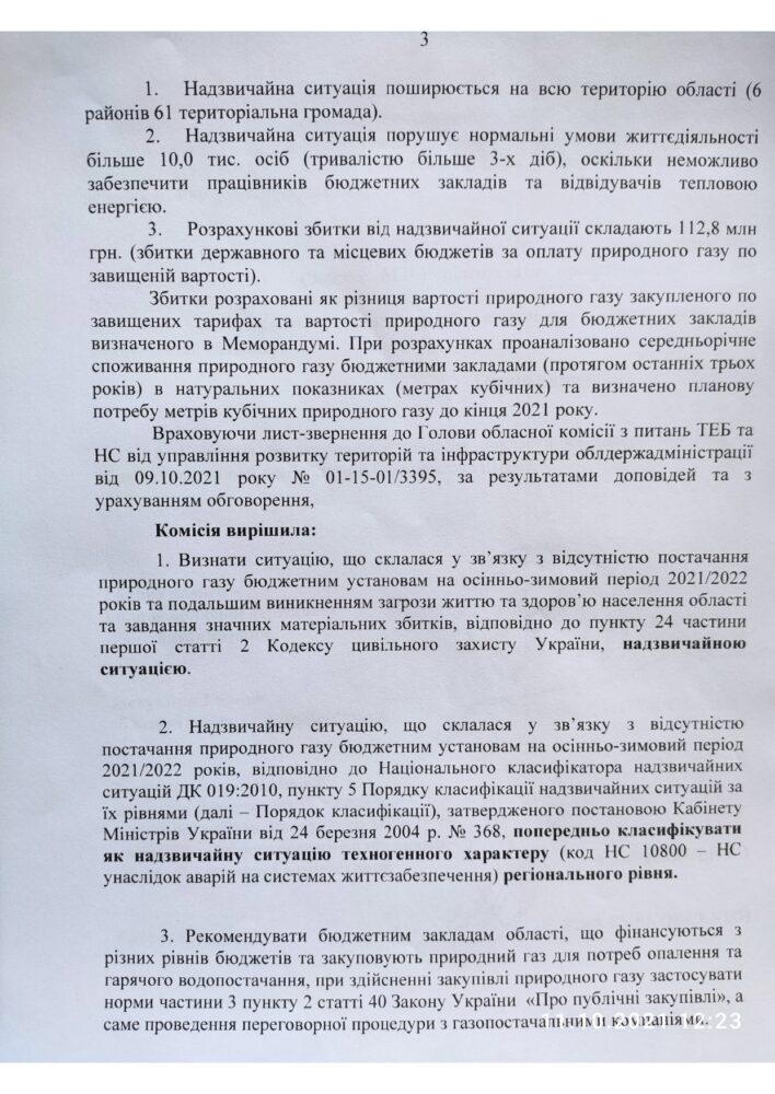 На Вінниччині оголошено надзвичайну ситуацію через відсутність постачання газу для опалювання бюджетних установ